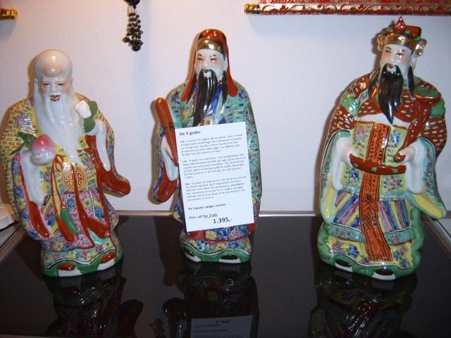 3 kinesiske guder i porcelæn
