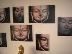 Buddha relief på lærred kr. 50,- pr. stk.