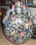 Kinesisk gulvvase med håndtag af firben